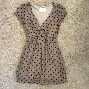 Tan and Black Polka Dot Cinched Mini Dress Small